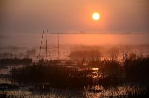 Wschód słońca nad zalewem. (fot. Paweł Podkowa)